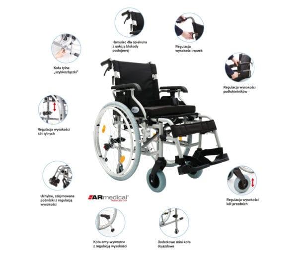 Wózek inwalidzki aluminiowy PRESTIGE AR 350 ARMEDICAL2