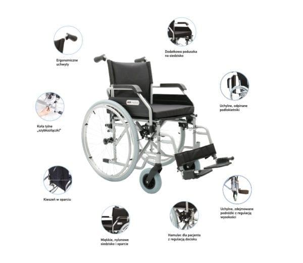 Wózek inwalidzki stalowy OPTIMUM AR 400 ARMEDICAL2